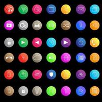 färgglada glansig ikonuppsättning för app eller webb