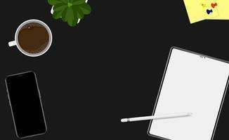 Draufsicht auf den Arbeitsbereich mit Geräten und Kaffee vektor