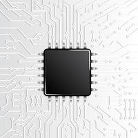 svart mikrochip på vitt kretsmönster vektor