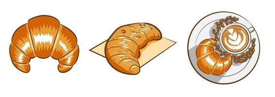 Croissant und Latte Set vektor