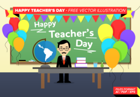 Happy Teacher's Day Kostenlose Vektor-Illustration