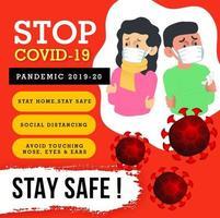 stoppa covid-19 medvetenhetsaffischdesign vektor