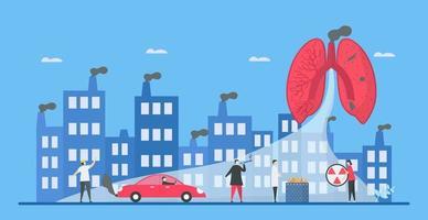 Luftverschmutzung, die Städte und Menschen gefährdet vektor