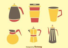 Kaffe- och tepottikoner vektor