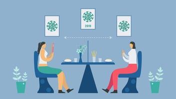 social distans på restaurangen vektor