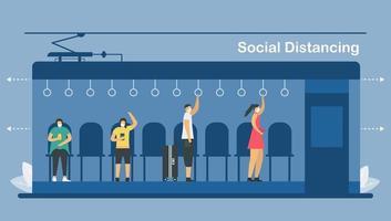 social distans i elektriskt tåg vektor