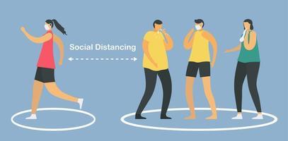 soziale Distanzierung mit Grenzkreisen vektor