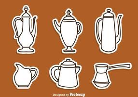 Arabiska kaffepanna linje ikoner vektor