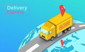 global leverans med lastbil med gps vektor