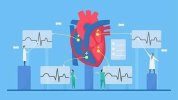 kardiologi elektrokardiogram koncept vektor