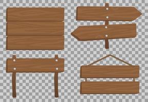 träskyltuppsättning inklusive pilskyltar vektor