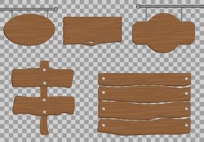 träskyltuppsättning inklusive hängande skyltar vektor