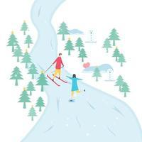 romantisches Paar Skifahren und Eislaufen vektor