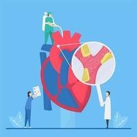 åderförkalkningskoncept med personal som undersöker hjärta vektor