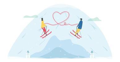 romantiska skidpar med hjärta