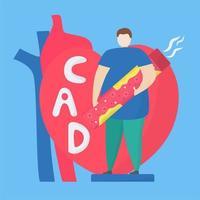 åderförkalkningskoncept med man som håller dålig artär vektor