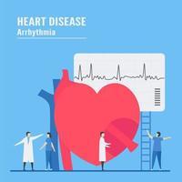 arytmi koncept med personal som testar hjärta vektor