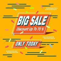 Big Sale Orange Banner mit Konfetti, Linien und Punkten