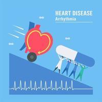 Tachykardie-Arrhythmie-Konzept mit Krankenhauspersonal, das Medikamente hält vektor