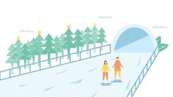 Paar Eislaufen vor dem Tunnel vektor