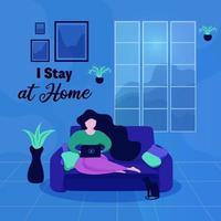 helles Plakat mit Frau, die zu Hause auf der Couch arbeitet bleibt vektor