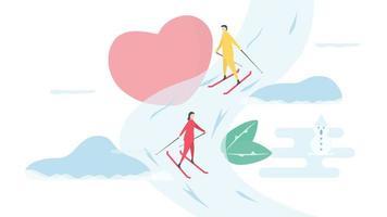 romantiska par skidåkning nedförsbacke