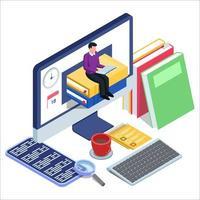 frigörande man sitter på böcker i datorn