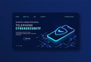 leuchtend blaue mobile Cybersicherheitswebsite vektor
