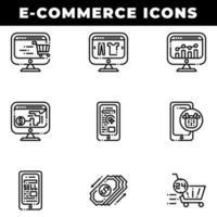 shoppingikoner för e-handel inklusive betalning och vagn vektor