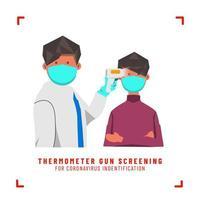 Arzt Screening maskierten Jungen mit Thermometer