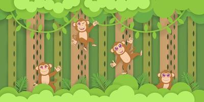 Affen spielen im tropischen Wald vektor