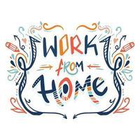 Arbeit von zu Hause aus Schriftzug mit Kritzeleien vektor