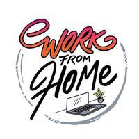 Hand gezeichnete Arbeit von zu Hause Abzeichen mit Laptop vektor