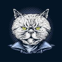 handgezeichnete Katze trägt Jacke vektor