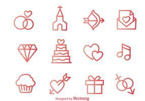 Liebe umreiß Icons vektor
