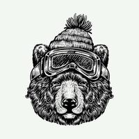 Gravur Stil Bär trägt Skimaske und Hut vektor