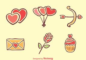 Liebe Cartoon Icons vektor