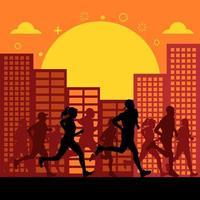 Silhouetten von Menschen, die Stadtmarathon laufen vektor