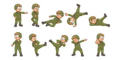 Cartoon Soldat Set vektor