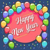 Frohes neues Jahr Ballon Gruß vektor