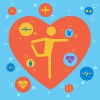 gelbe menschliche Ikone, die sich in Herzform ausdehnt