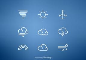 Gratis väderlinje vektor ikonuppsättning