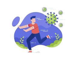 Mann läuft von Coronavirus vektor