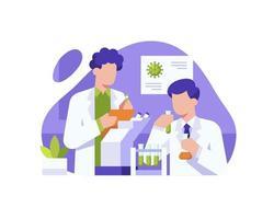 Wissenschaftler arbeiten sehr hart daran, einen Impfstoff zu finden vektor