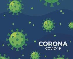 grünes Coronavirus-Muster auf blau vektor
