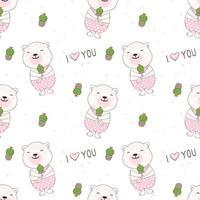 lächelnder Teaddybär mit nahtlosem Kaktusmuster