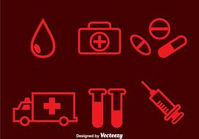 Röda ikoner för sjukhus vektor
