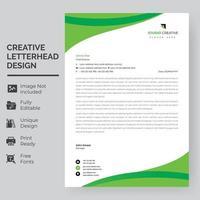 grüne gebogene Formen an der oberen und unteren Briefkopfschablone vektor