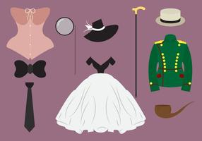 Samling av gamla stilkläder vektor