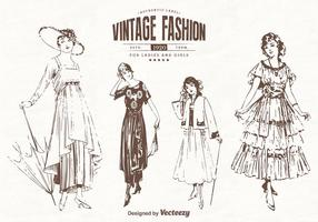 Freie Dame Old Style Clothes Vector